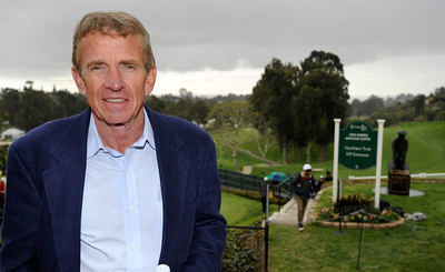 Tim Finchem, the Commissioner of the PGA is seen above the 18th green at Riviera. Wednesday was reserved for the Pro Am at Riviera Country Club, one day before the start of the Northern Trust Open. Pacific Palisades, CA 2/15/2012(John McCoy/Staff Photographer)