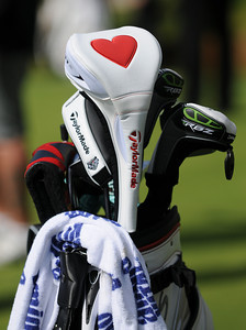 A heart is appearing on head covers and caps of players who play withTaylor Made golf clubs. Wednesday was reserved for the Pro Am at Riviera Country Club, one day before the start of the Northern Trust Open. Pacific Palisades, CA 2/15/2012(John McCoy/Staff Photographer)