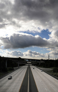 View of the 2 freeway, looking south into Los Angeles is seen near the transition from the 134 eastbound to the 2 north freeways. Rain has given way to clouds over most of the valley and the rest of the southland. Glendale, CA 12-23-2010. (John McCoy/staff photographer)