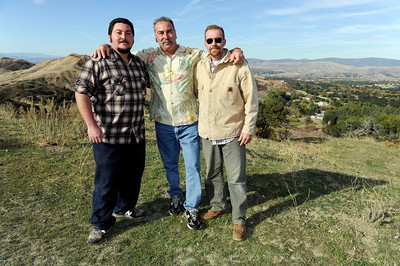 (right-left) Derek Hunt, owner of Sable Ranch, Steve Arkin, owner of Rancho Deluxe Movie Ranch, and Steve Arkin Jr.  at Rancho Deluxe Movie Ranch in Santa Clarita (Hans Gutknecht/Staff Photographer)