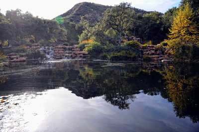 Man made lake and waterfalls at Rancho Deluxe Movie Ranch in Santa Clarita (Hans Gutknecht/Staff Photographer)