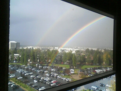 Rosie Felix sent this photo she shot of the double rainbow that appeared through her office window in Woodland Hills on Wednesday, Dec. 22, 2010.