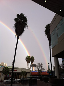 Robin Gore sent this double-rainbow image from North Hollywood that was shot on Wednesday, Dec. 22, 2010, during a break in the rain.