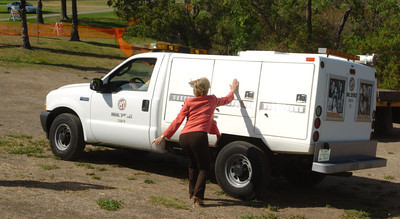 Councilmember Janice Hahn says goodbye to Reggie the alligator as he is transported to the Los Angeles Zoo, after he was captured at Machado Lake in Harbor City. He was put in quarantine at the zoo.( Staff photo by Sean Hiller)
