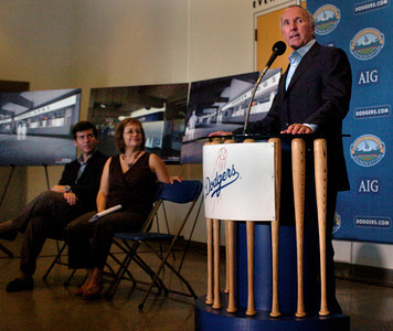news conference on renovation plans for Dodger Stadium
