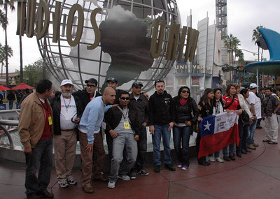 """The rescued Chilean miners and their families visit Universal Studios Hollywood during a grand tour of Hollywood's most iconic landmarks. The miners were in Los Angeles to tape an episode of CNN's """"Heroes,"""" which will air Thanksgiving Day."""