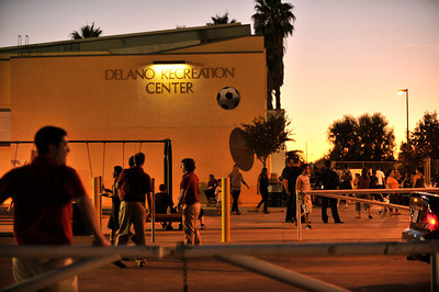 View of the Delano Recreation Center. A soccer match between Sun Valley Parks Vineland Boys, and Delano Parks, Barrio Van Nuys, was played at Delano Park during the Summer Night Lights program. The rival gangs decided to leave their differences behind them, and play a spirited game of soccer.  Van Nuys CA. 8-24-2011. (John McCoy/Staff Photographer)
