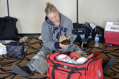 A two-time olympian and world champion judo practitioner  Ronda Rousey prepares to make her professional mixed martial arts debut on March 27, 2011 at King of the Cage: Turning Point. She submitted Ediane Gomes with an armbar in 25 seconds (Hans Gutknecht/Staff Photographer)