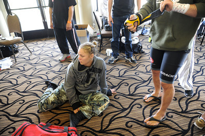 Ronda Rousey waits backstage before making her professional mixed martial arts debut on March 27, 2011 at King of the Cage: Turning Point. She submitted Ediane Gomes with an armbar in 25 seconds (Hans Gutknecht/Staff Photographer)