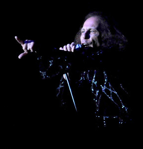 Ronnie James Dio sings as Heaven and Hell performed at the Greek Theatre in Los Angeles, CA 8-11-2009.  Photo by John McCoy/staff photographer