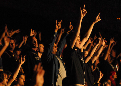 The crowd shows its appreciation for Heaven and Hell while they perform at the Greek Theatre in Los Angeles, CA 8-11-2009.  Photo by John McCoy/staff photographer