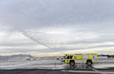Bob Hope Airport Fire Department demonstrates it's new addition to the department's fleet a Rosenbauer ARFF Panther Class 4 Aircraft Rescue and Firefighting vehicle at the the Burbank Airport Monday, February 6, 2012.  The Firefighting vehicle is the first in the country to be equipped with a Compressed Air Foam firefighting system and can carry up 1,500 gallons of firefighting agent. (Hans Gutknecht/Staff Photographer)