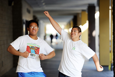 Run LA members Jonathan Sison, 18-years-old, and Adrian Prado, 18-years-old, after practice at Kennedy High Schoolin Granada Hills. Run LA is a program that began 23 years ago, when teachers, fed up with their students attitudes, challenged their students to run the L.A. marathon. What began as 200 students is now 3,000 largely at-risk youth who try to prove to themselves, that if they can complete the LA Marathon, they can do anything. (Hans Gutknecht/Staff Photographer)