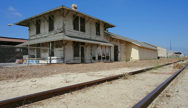 The historic Saticoy, CA, Train Station building that currently serves as a showroom and office building for Newton Building Materials is in plans to be rehabbed and relocated along a rejuvenated Santa Paula Line among other plans that will upgrade the rail from Ventura to Piru and possibly extend to Santa Clarita. (John Lazar/L.A. Daily News Staff Photographer)