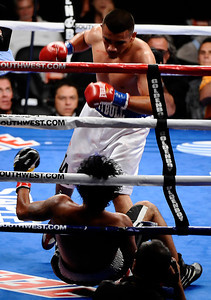 (in wht turnks) Franike Gomez goes 3 rounds as he TKO's  Ricardo Calzada for his 6th straight win Saturday night at Staples Center in Los Angeles CA.  Sept 17,2010. Photo by Gene Blevins/LA Daily News