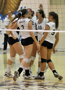DS28-SAU-VAL-VBAL-JM.  The Valencia Girls volleyball team hosted Saugus in a Foothill League game. Saugus won in 3 straight games. Valencia, CA 9/27/2011(John McCoy/Staff Photographer)