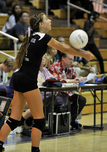 Valencia #4 Delaney Knudsen bumps the ball into play. The Valencia Girls volleyball team hosted Saugus in a Foothill League game. Saugus won in 3 straight games. Valencia, CA 9/27/2011(John McCoy/Staff Photographer)