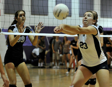 Saugus #23 Ashley Guthrie bumbs the ball. The Valencia Girls volleyball team hosted Saugus in a Foothill League game. Saugus won in 3 straight games. Valencia, CA 9/27/2011(John McCoy/Staff Photographer)