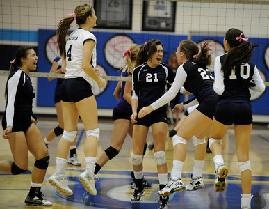 Saugus girls' volleyball team defeated rival Valencia in 3 out of 4 games for first place in the Foothill League. Saugus, CA. 10/18/2011(John McCoy/Staff Photographer)