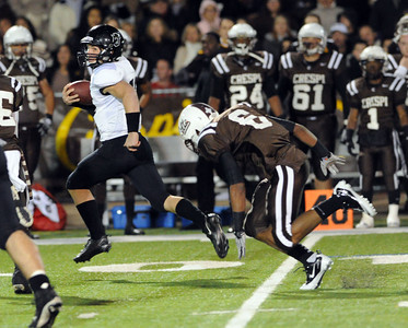 Servite's Cody Pittman #12 gets away from Crespi's Noah Ciccel #6 for a big gain during  their Southern Section Pac-5 Division football quarterfinals Friday, November 26, 2010. (Hans Gutknecht/Staff Photographer)