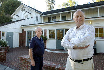 Cinema Heritage Project volunteers left to right are Ron Sobel and Dan Brin at Shadow Ranch on Vanowen Street in West Hills, Ca, on Wednesday, Sept. 12, 2007 where old movies were filmed in the historic house.  (Tina Burch/Staff Photographer)