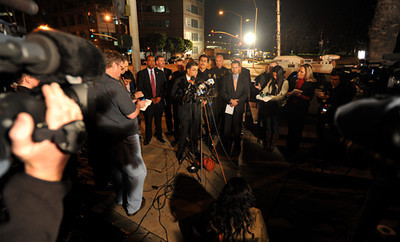 2/16/12 - At approximately 10 pm members of various branches of law enforcement held a press conference to confirm the events of Thursday evening which resulted in the death of an ICE agent at the Glenn M. Anderson Federal Building in Long Beach. Photo by Brittany Murray / Staff Photographer
