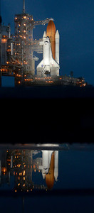 Space shuttle Atlantis sits on the pad as all systems are go with only the weather that could delay todays launch from Kennedy Space Center. FL. July 7,2011. Photo by Gene Blevins/LA Daily News
