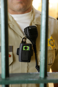 Sheriffs Deputy David Real is outfitted with a video/audio recorder that can record up to four hours. Several Deputies are wearing the devices at Mens Central Jail, and can turn them on and off as needed. Los Angeles, CA 3/23/2012(John McCoy/Staff Photographer)