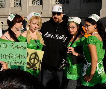 Singer B-Real of cypress hill poses with fans during the Cypress Hill SmokeOut, Americans for Safe Access (ASA) and the Medicine & Music Project team up for SMOKEOUT FOR SAFE ACCESS, as a response to recent Federal injustices against medical marijuana and the local ban on medical marijuana in the city of Los Angeles. Ca. March 1,2012. Photo by Gene Blevins/LA DailyNews