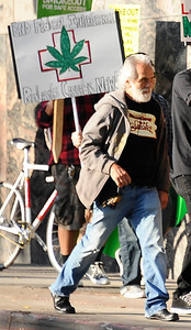 Actor  Tommy Chong marches during the Cypress Hill SmokeOut, Americans for Safe Access (ASA) and the Medicine & Music Project team up for SMOKEOUT FOR SAFE ACCESS, as a response to recent Federal injustices against medical marijuana and the local ban on medical marijuana in the city of Los Angeles. Ca. March 1,2012. Photo by Gene Blevins/LA DailyNews