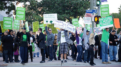 People rally during the Cypress Hill SmokeOut, Americans for Safe Access (ASA) and the Medicine & Music Project team up for SMOKEOUT FOR SAFE ACCESS, as a response to recent Federal injustices against medical marijuana and the local ban on medical marijuana in the city of Los Angeles. Ca. March 1,2012. Photo by Gene Blevins/LA DailyNews