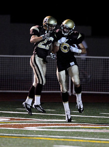 St Francis' Travis Talianko celebrates with Tommy Scheper #22 after his second quarter touchdown during their game against West Ranch  at St. Francis High School in La Canada, CA Friday, September 30, 2011. (Hans Gutknecht/Staff Photographer)