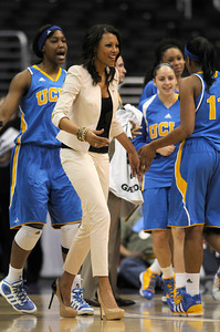 UCLA Coach Nikki Caldwell is very fashion forward in her footware. Stanford defeated UCLA in the Womens PAC 10 Conference Championship 64-55 at Staples Center in Los Angeles, CA. 3-11-2011. (John McCoy/staff photographer)