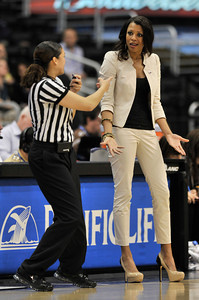 UCLA coach Nikki Caldwell disagrees with a call in the second half. Stanford defeated UCLA in the Womens PAC 10 Conference Championship 64-55 at Staples Center in Los Angeles, CA. 3-11-2011. (John McCoy/staff photographer)