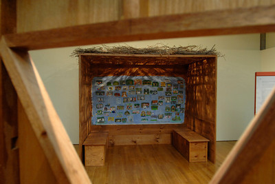 This sukkah built by Marlene Zimmerman features pictures of sukkot built by Jews living around the country. Artistic examples of Kukkot buildings at the Skirball Cultural Center.  Photographed in Los Angeles, California. Photos taken 9/20/07. photo by John McCoy/LA Daily News