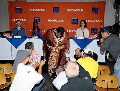 Team USA world game champion sumo wrestler Kelly Gneiting talks to the media as he will try to for a Guinness book world records for the heaviest man to race in the Los Angeles marathon. Kelly weighed in at 400.8 pounds during a press conference at Dodger Stadium and will be weighed in at the start and finish of the LA marathon. Los Angeles CA.   March 19,2011. Photo by Gene Blevins/LA Daily New