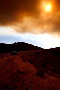 Smoke and ashes scattered all over Ventura County creating a thick black red layer of smoke from the near by Santa Rosa Valley fire including Highway 23 between Fillmore and Moorpark, CA.  (Ernesto Elizarraraz, Special to the Daily News)