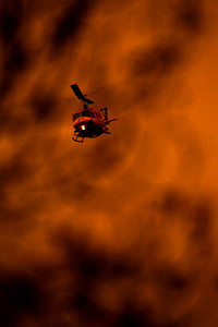 The Santa Rosa Valley fire started this morning between the cities of Camarillo and Moorpark, firefighters used helicopters in an attempt to contain the fire.  (Special to the Daily News)