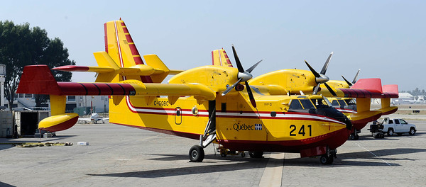 The super scoopers have return to Van Nuys airport for the 2011 fire season. The planes came in last night around 8:30 pm and will be ready for service by the weekend. Van Nuys, CA.  Aug 31,2011 photo by Gene Blevins/LA Daily News