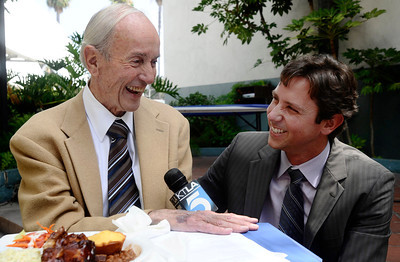 """KTLA's TV news reporter  Stan Chambers turn 87 today and is retiring from active duty after 63 years at Channel 5.KTLA will air a special, hour-long broadcast, """"Stan Chambers: Newsman."""" He's interviewed here by KTLA reporter Jamie Chambers, his grandson. Hollywood Ca. Aug 11.2010. Photo by Gene Blevins/LA DailyNews"""