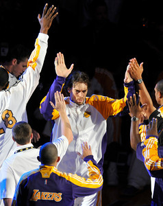 Pau Gasol takes the floor during introductions before game 2. The Celtics defeated the Lakers 104-93 in game two of the NBA Finals at Staples Center in Los Angeles , CA 6/6/2010. photo by John McCoy/staff photographer