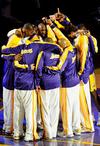 Lakers huddle up before taking the floor in game 2. The Celtics defeated the Lakers 104-93 in game two of the NBA Finals at Staples Center in Los Angeles , CA 6/6/2010. photo by John McCoy/staff photographer