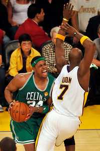 Paul Pierce gets fouled by Lamar Odom in the first half. The Celtics defeated the Lakers 104-93 in game two of the NBA Finals at Staples Center in Los Angeles , CA 6/6/2010. photo by John McCoy/staff photographer