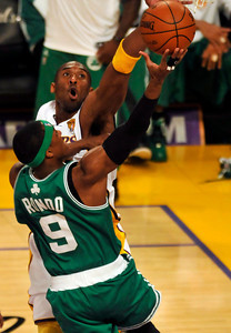Kobe Bryant contests a shot by Rajon Rondo in the first half. The Celtics defeated the Lakers 104-93 in game two of the NBA Finals at Staples Center in Los Angeles , CA 6/6/2010. photo by John McCoy/staff photographer