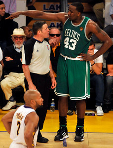 Celtics Kendrick Perkins talks with the official about a call in the first half. The Celtics defeated the Lakers 104-93 in game two of the NBA Finals at Staples Center in Los Angeles , CA 6/6/2010. photo by John McCoy/staff photographer