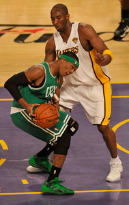 Rajon Rondo gets fouled by Kobe Bryant in the first half. The Celtics defeated the Lakers 104-93 in game two of the NBA Finals at Staples Center in Los Angeles , CA 6/6/2010. photo by John McCoy/staff photographer