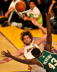 Pau Gasol is called for a foul against Kendrick Perkins in the first half. The Lakers hosted the Celtics  in game two of the NBA Finals at Staples Center in Los Angeles , CA 6/6/2010. photo by John McCoy/staff photographer