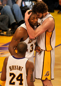 Ron Artest gets a hug from Pau Gasol at the end of the first half. The Lakers hosted the Celtics  in game two of the NBA Finals at Staples Center in Los Angeles , CA 6/6/2010. photo by John McCoy/staff photographer