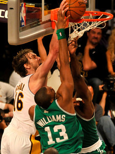 Pau Gasol gets the ball around Shelden Williams in the first half. The Celtics defeated the Lakers 104-93 in game two of the NBA Finals at Staples Center in Los Angeles , CA 6/6/2010. photo by John McCoy/staff photographer