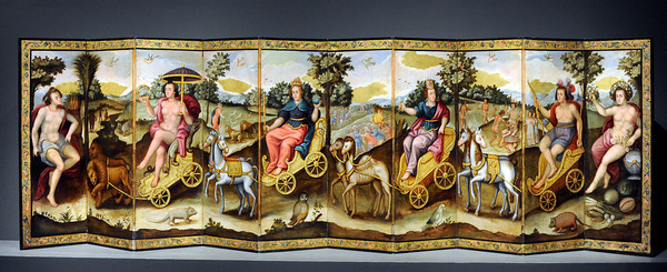 Folding Screen with the Four Continents at the Contested Visions in the Spanish Colonial World at the Los Angeles County Museum of Art.The Contested Visions in the Spanish Colonial World is the first exhibition in the U.S. to examine the connection between ancient and colonial artistic traditions in Latin America. By considering the pre-Columbian (Inca and Aztec) origins of Mexico and Peru, the show broadens our understanding of how art and power intersected in the Spanish colonial world. (Hans Gutknecht/Staff Photographer)